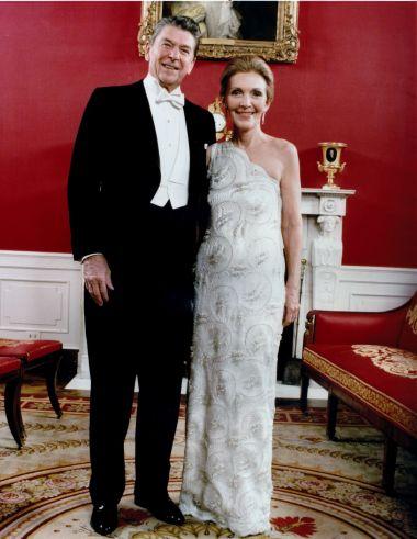 Nancy Reagan wearing a Galanos dress at the 1981 Inaugural Ball