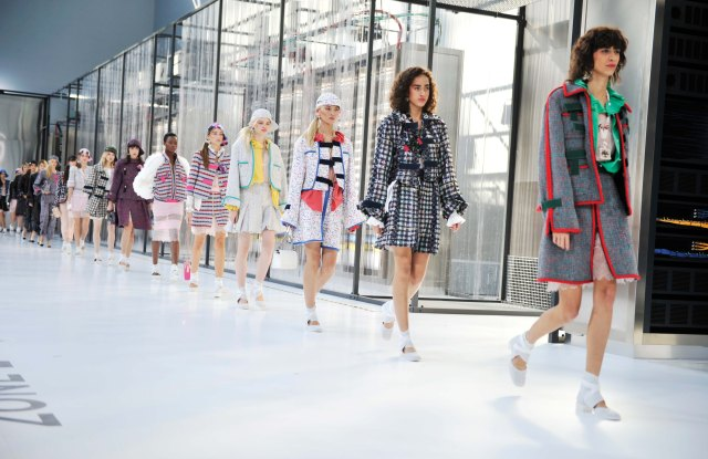Chanel Karl Lagerfeld's cyber-chic motif — robots, cables, digital graphics — powered up delicate lingerie pieces.