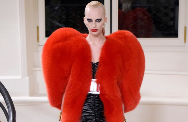 The YSL heart-shaped, fox fur jacket.