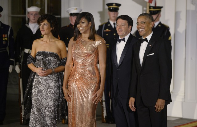 Agnese Landini, First Lady Michelle Obama, Italy's Prime Minister Matteo Renzi and President Barack Obama
