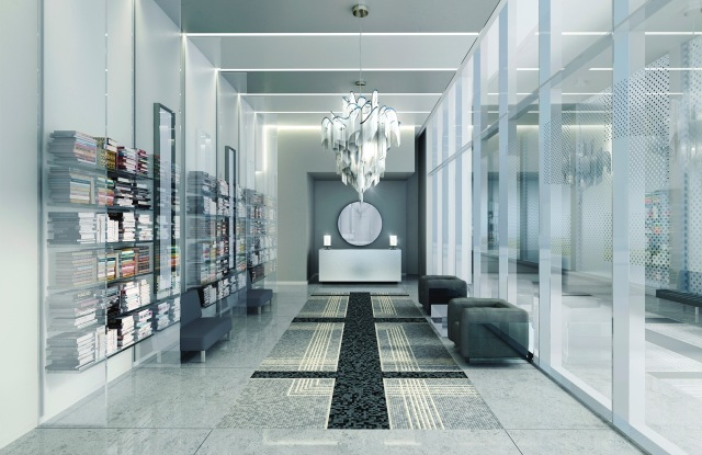 Karl Lagerfeld's design for a lobby at Art Shoppe Loft + Condos in Toronto.