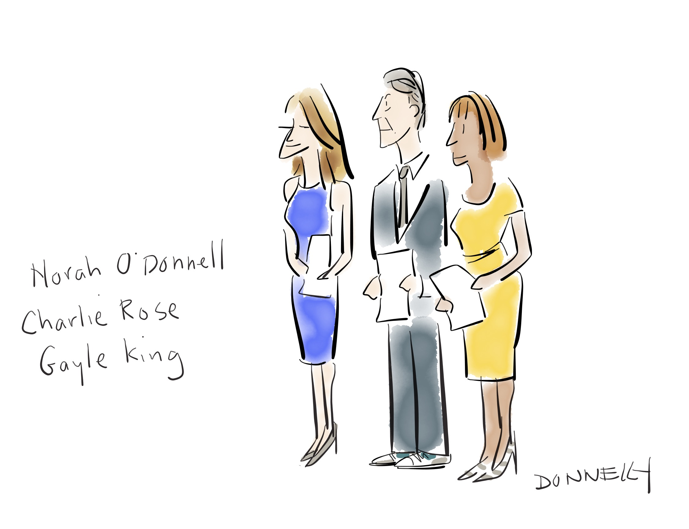 """Liza Donnelly's cartoon of the """"CBS This Morning"""" hosts."""