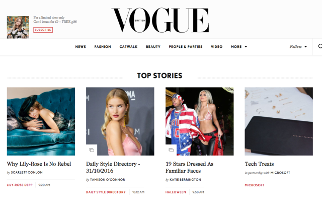 Vogue.co.uk Homepage