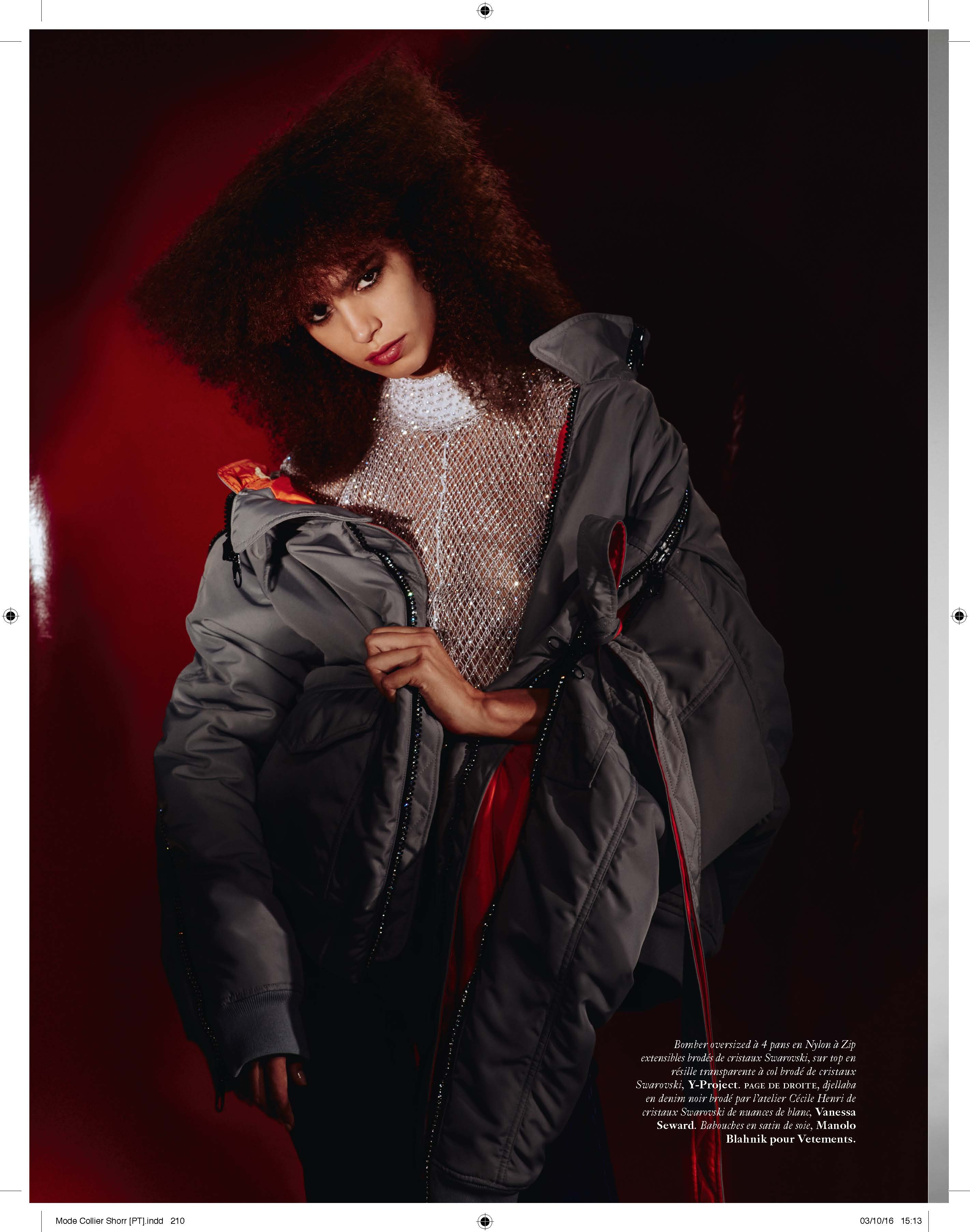 Y/Project's bomber jacket and fishnet top.