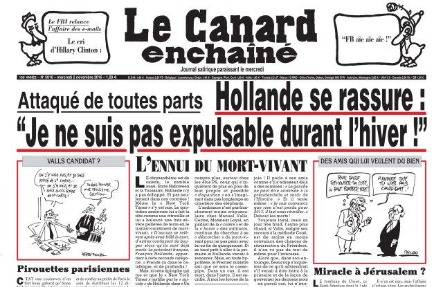 Page one of Le Canard Enchaîné's Nov. 2 edition