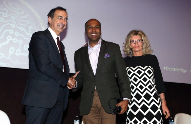 Milan's mayor Giuseppe Sala, New York's chief digital officer Sree Sreenivasan and Milan's councilor of Digital Transformation Roberta Cocco.