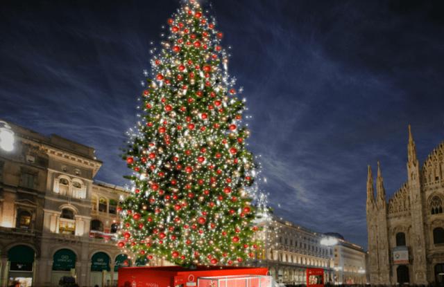 A rendering of Milan's Christmas tree sponsored by Pandora.