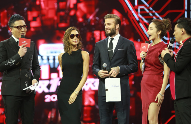David and Victoria Beckham made an appearance, with Victoria promoting her fashion line and David touting his new whiskey brand.