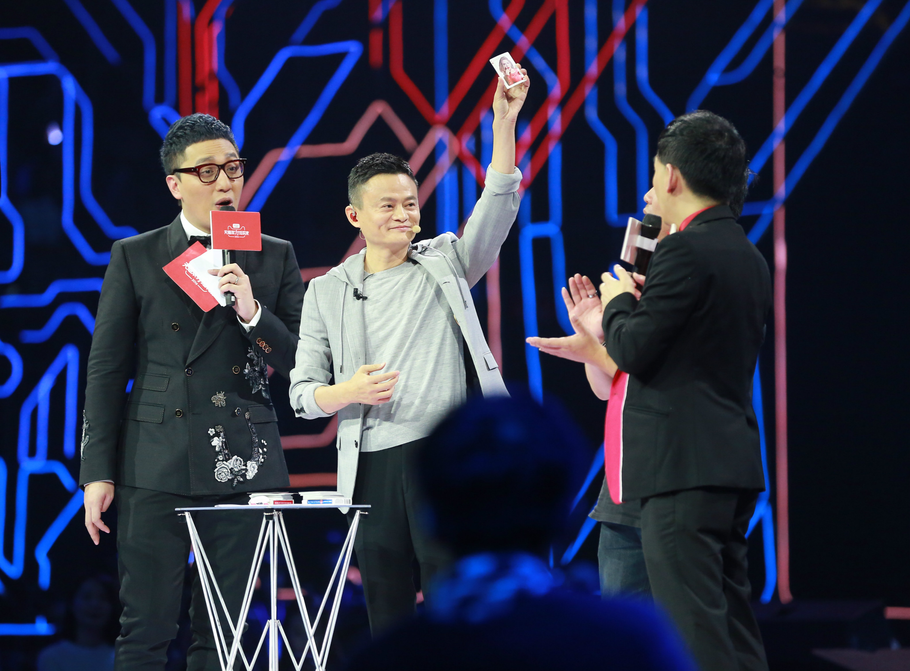 Alibaba founder Jack Ma takes part in a game during a gala on Nov. 10.