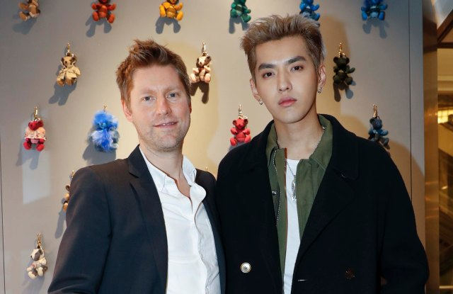 Christopher Bailey and Kris Wu attending the launch for Wu's curated capsule collection for Burberry.