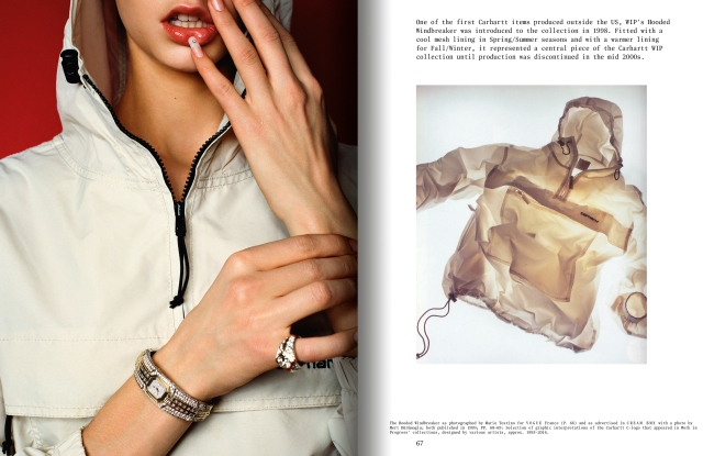 "A spread from ""The Carhartt WIP Archives"" featuring a photo by Mario Testino."