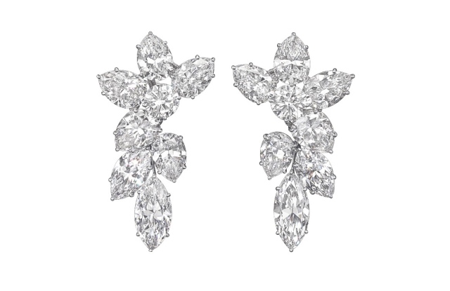 """A pair of diamond cluster ear pendants, by Harry Winston, from the private collection, """"Betsy Bloomingdale: A Life in Style."""""""