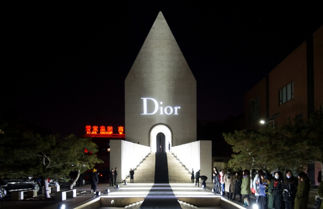 Outside the Dior Homme event at the Chinese Academy of Oil Painting in Beijing.