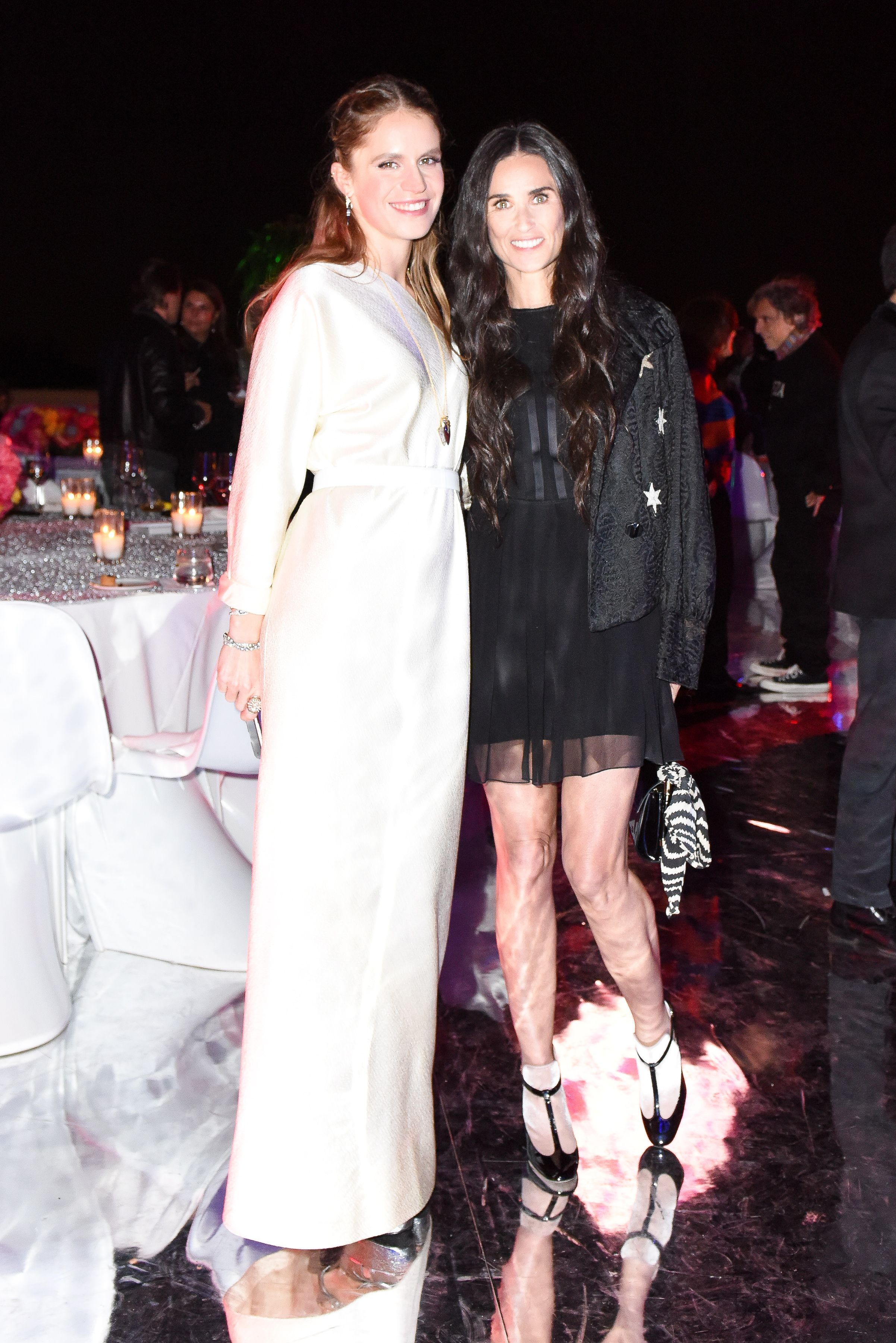 Eugenie Niarchos in Halston and Demi Moore