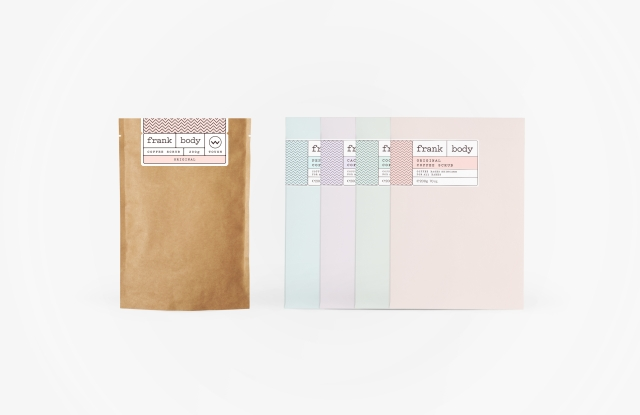 Frank Body's original packaging (left) with updated packaging for Urban Outfitters.