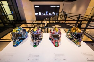 Several of Lundqvist's helmets