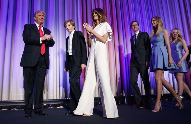 Donald Trump, his son Barron, wife Melania, Jared Kushner, Ivanka Trump, and Tiffany Trump.