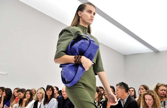 Salvatore Ferragamo: prominent shoulders and rich color play.