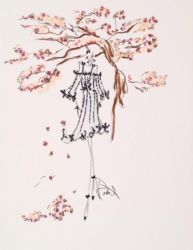 Rodarte's original sketch for Mandarin Oriental New York.