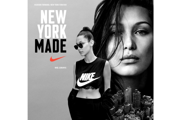 Bella Hadid in Nike's NY Made campaign.