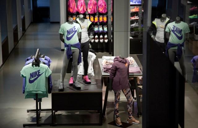 Inside the Nike store in SoHo.