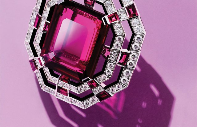 Cartier's brooch in 18-karat white gold with rubellite, onyx and diamonds.