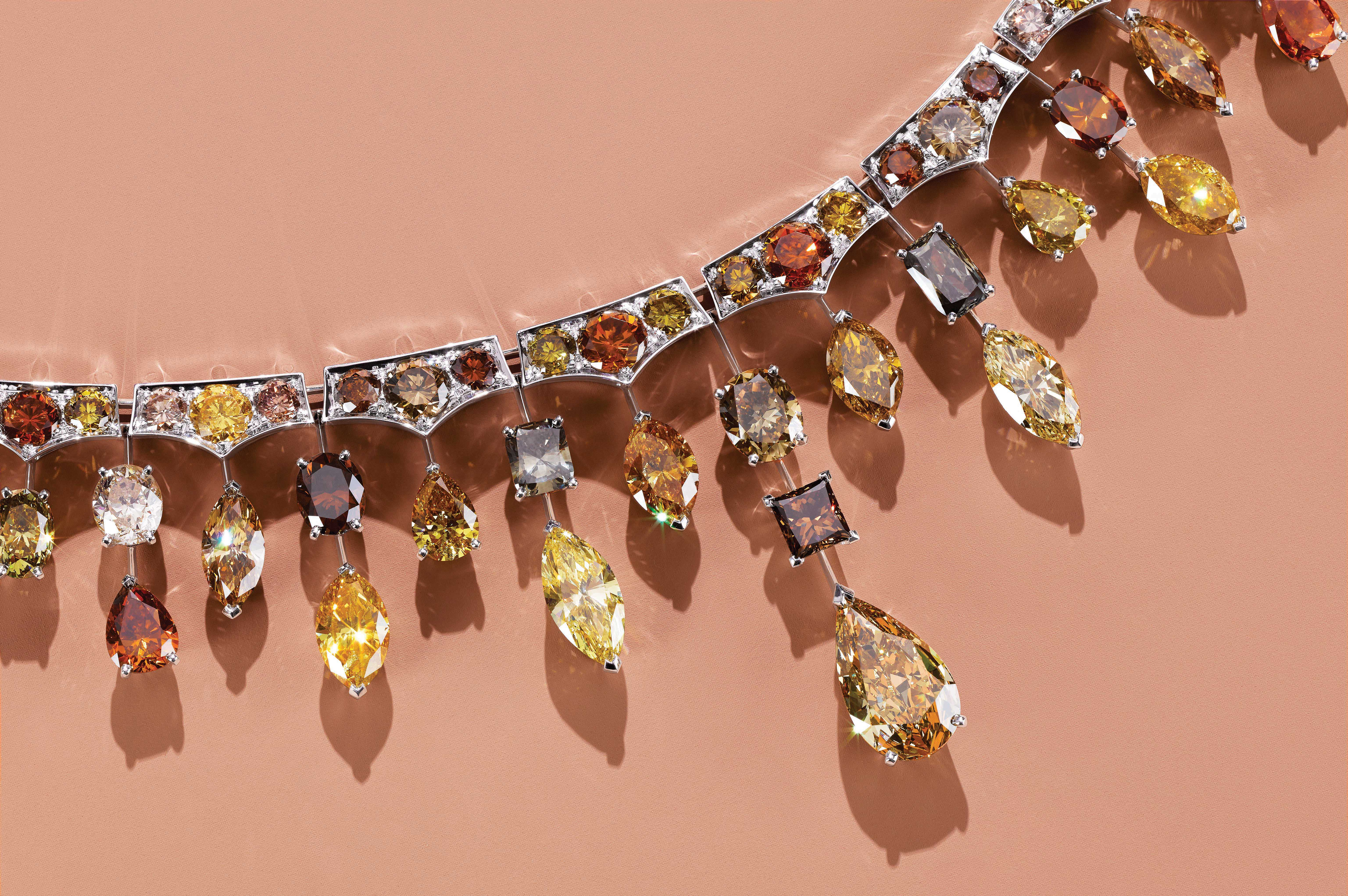 De Beers' 18-karat white gold necklace with multicolored diamonds.