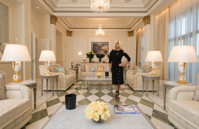 Donatella Versace in the Imperial Suite at the Palazzo Versace in Dubai.