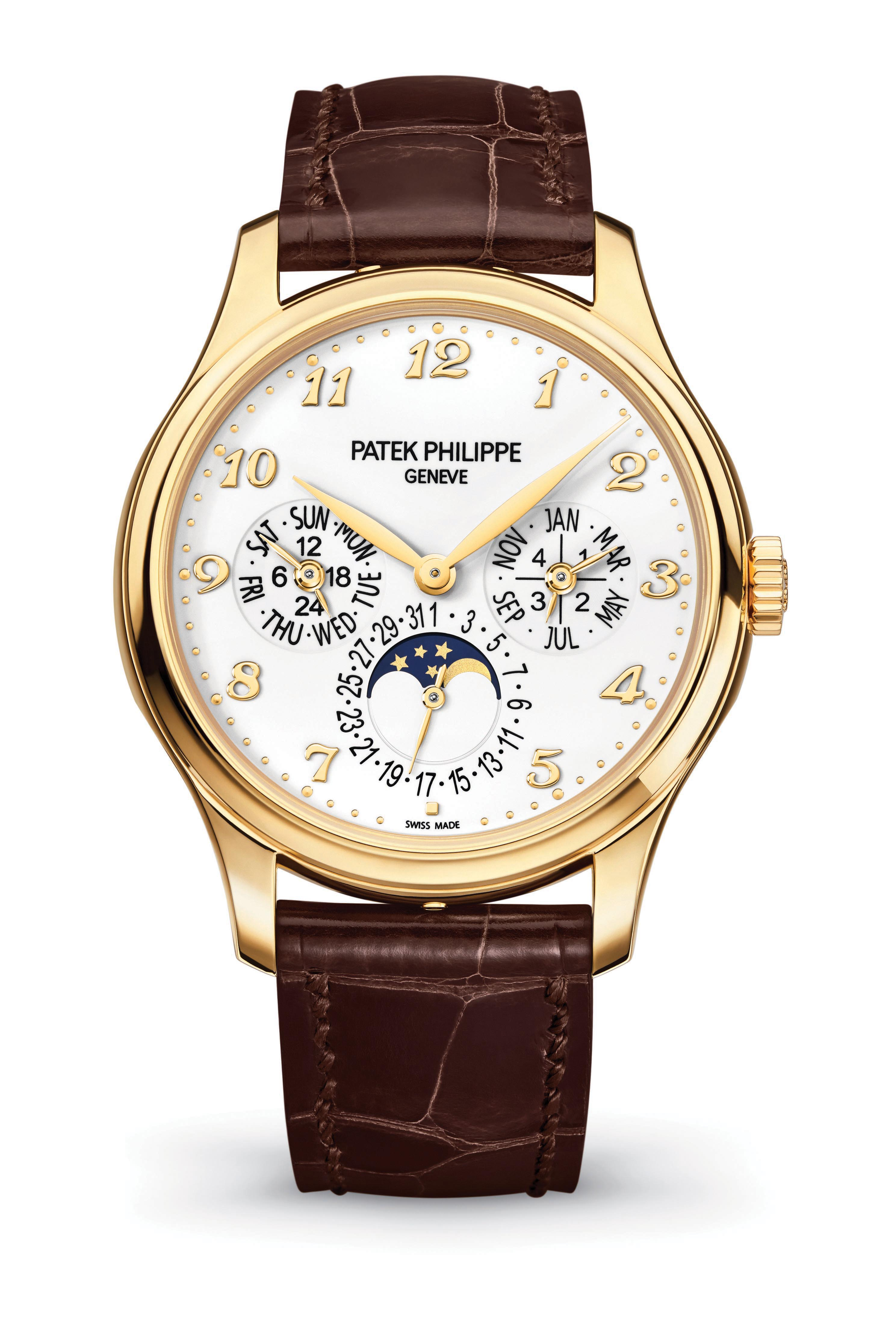 The men's Perpetual Calendar in yellow gold with ivory lacquered dial and shiny alligator strap.