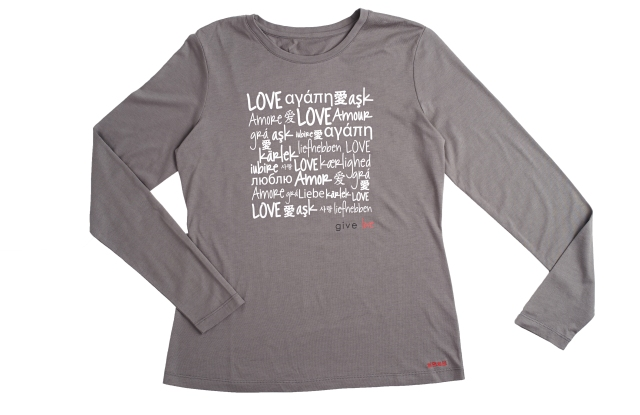 """The T-shirt features the word """"love"""" in 16 languages."""