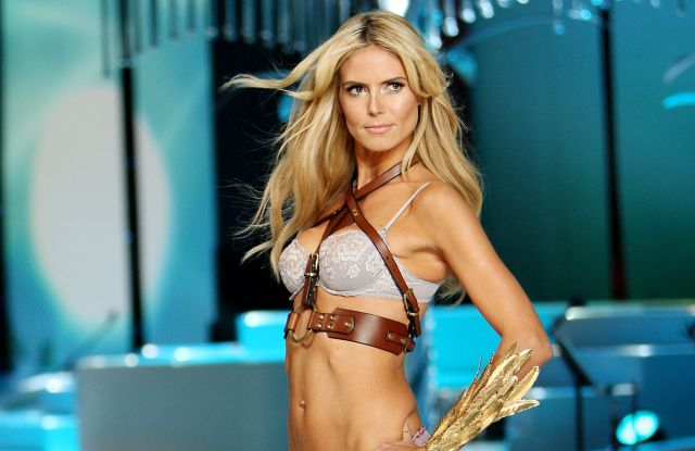 Heidi Klum walking the runway at the 2008 Victoria's Secret Fashion Show.
