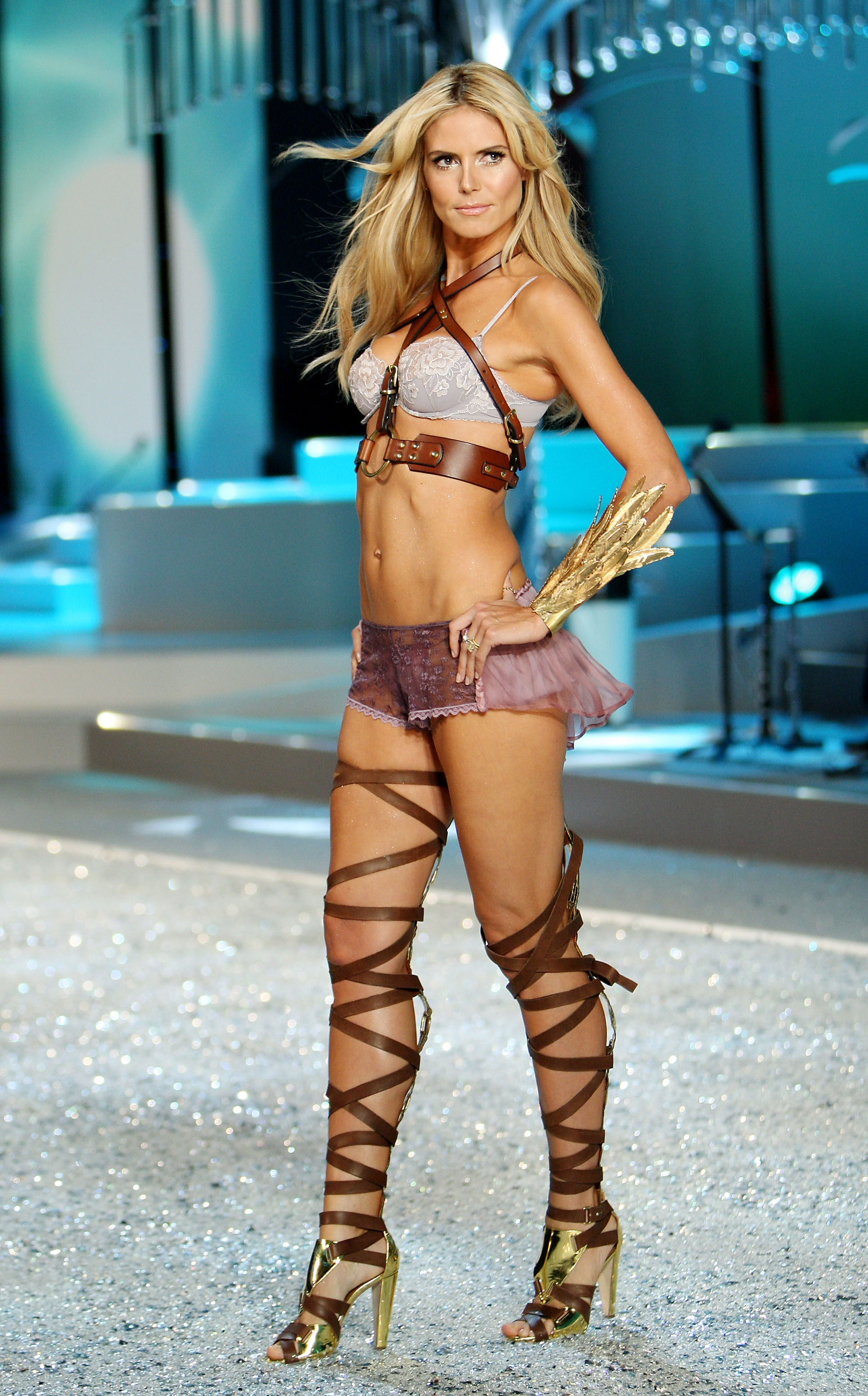 Heidi Klum walking the runway at the 2008 Victoria's Secret Fashion Show.