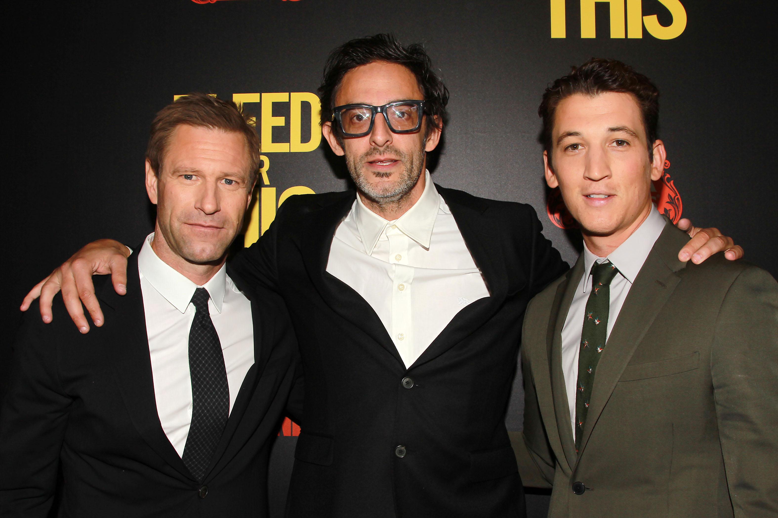 Aaron Eckhart, Ben Younger and Miles Teller.