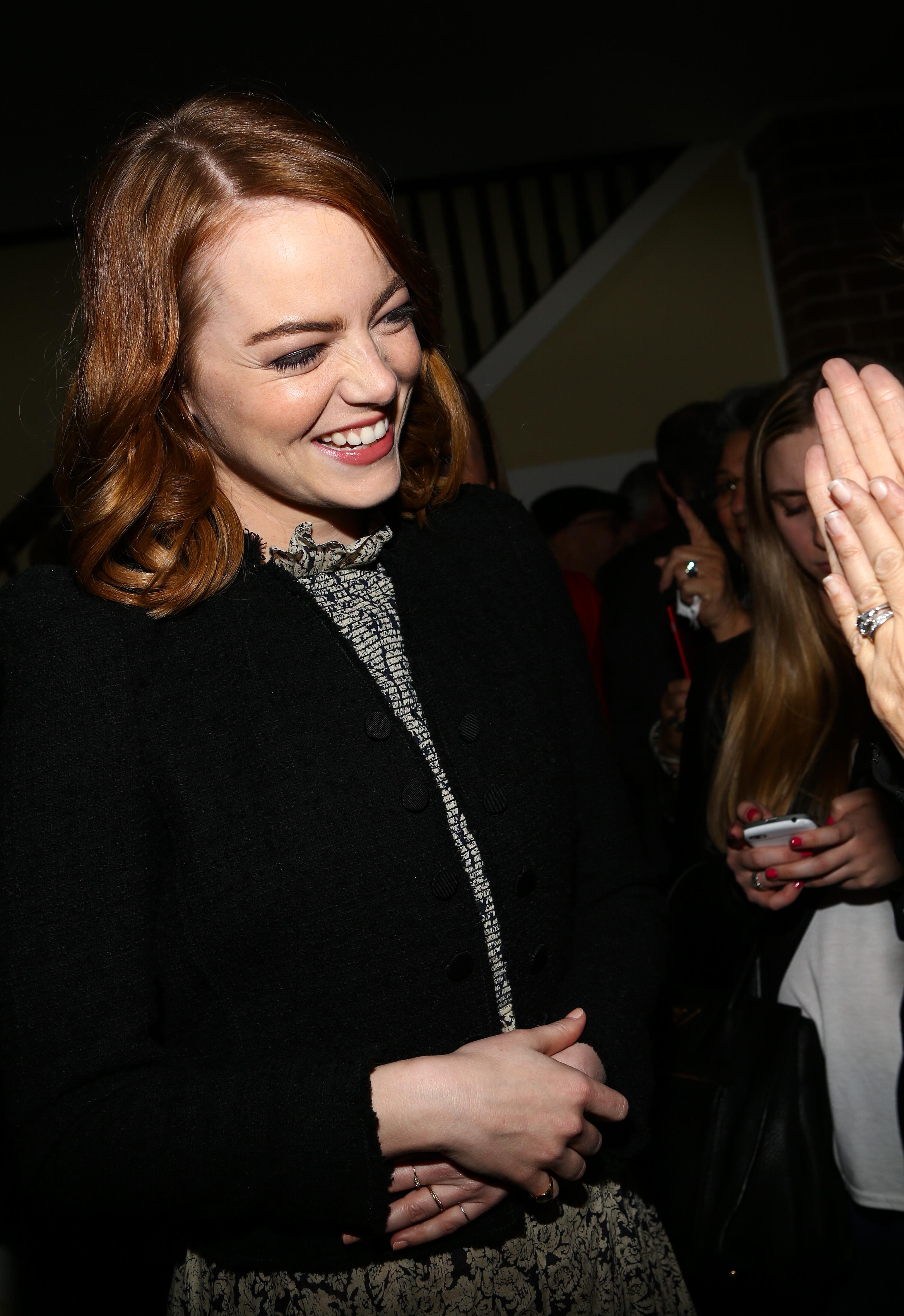 Emma Stone at La La Land party Los Angeles