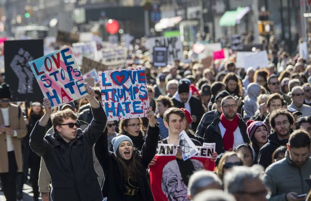 Trump Protests on Fifth Avenue in New York City.