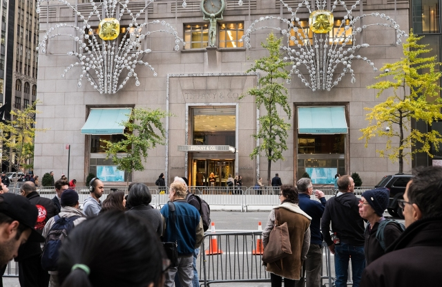 The scene outside Tiffany & Co. earlier this year.
