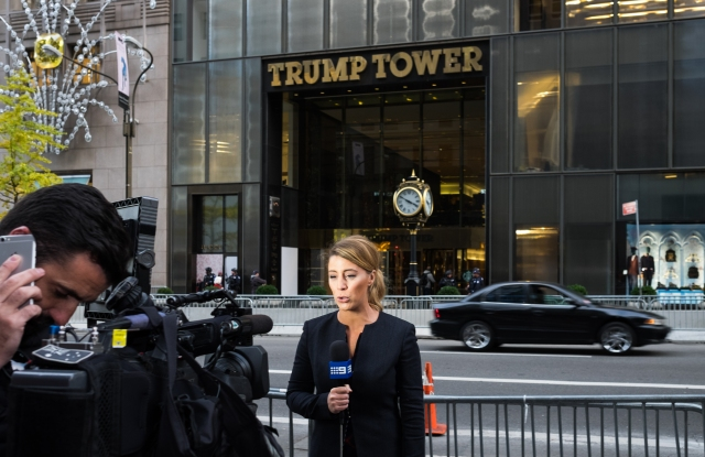 The scene outside Trump Tower.