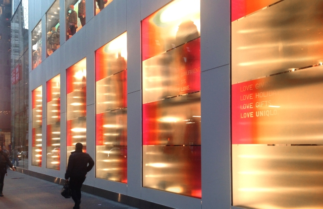 Uniqlo recruited Mona Kim Projects to create fiery installations for the holidays.