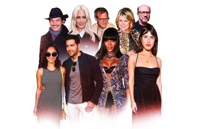 Elie Top, Poppy Delevigne, Spike Jonze, Martha Stewart, Paul Haggis, Cara Santana and Jesse Metclafe, Naomi Campbell, Jeanne Damas.
