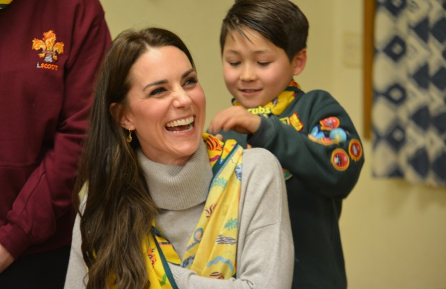 The Duchess of Cambridge in an Iris and Ink sweater and a Cub scarf