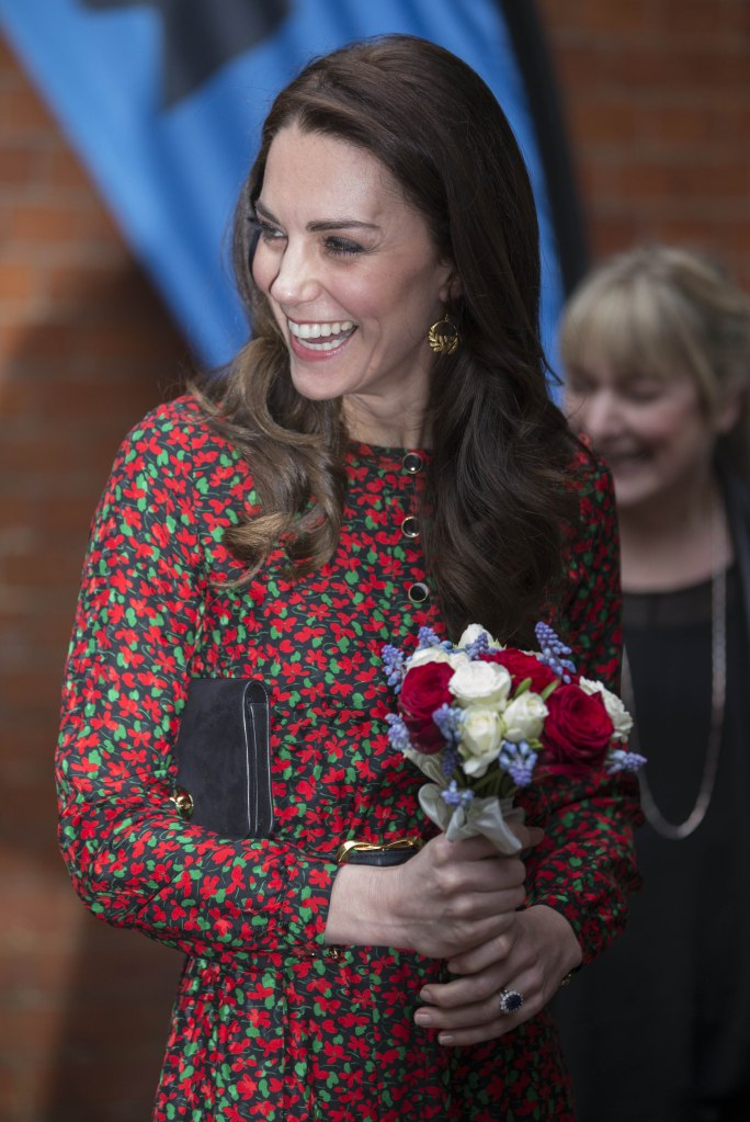 The Duchess of Cambridge in a printed dress by Vanessa Seward