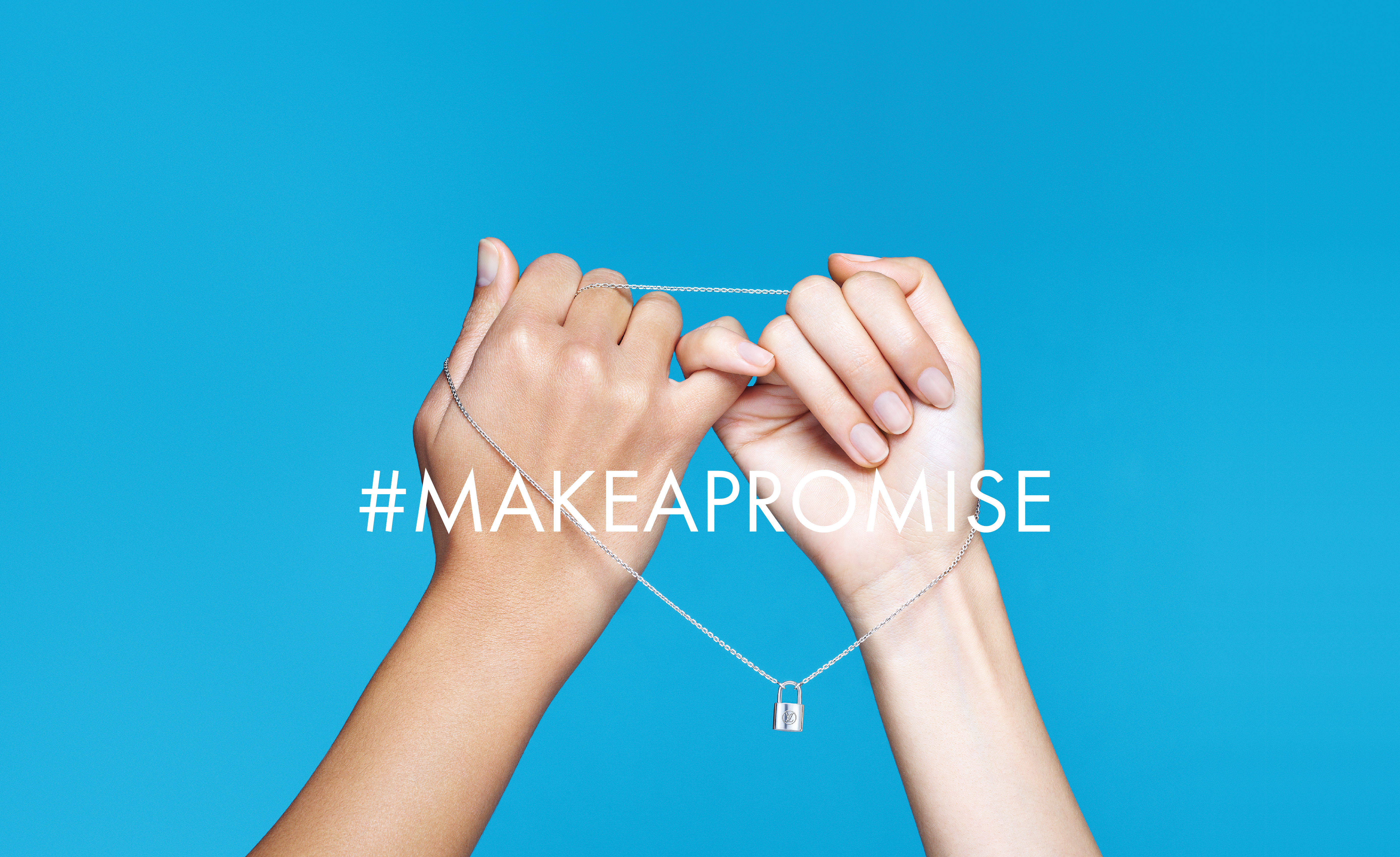 A visual for Louis Vuitton's #Makeapromise initiative in partnership with the UNICEF fund