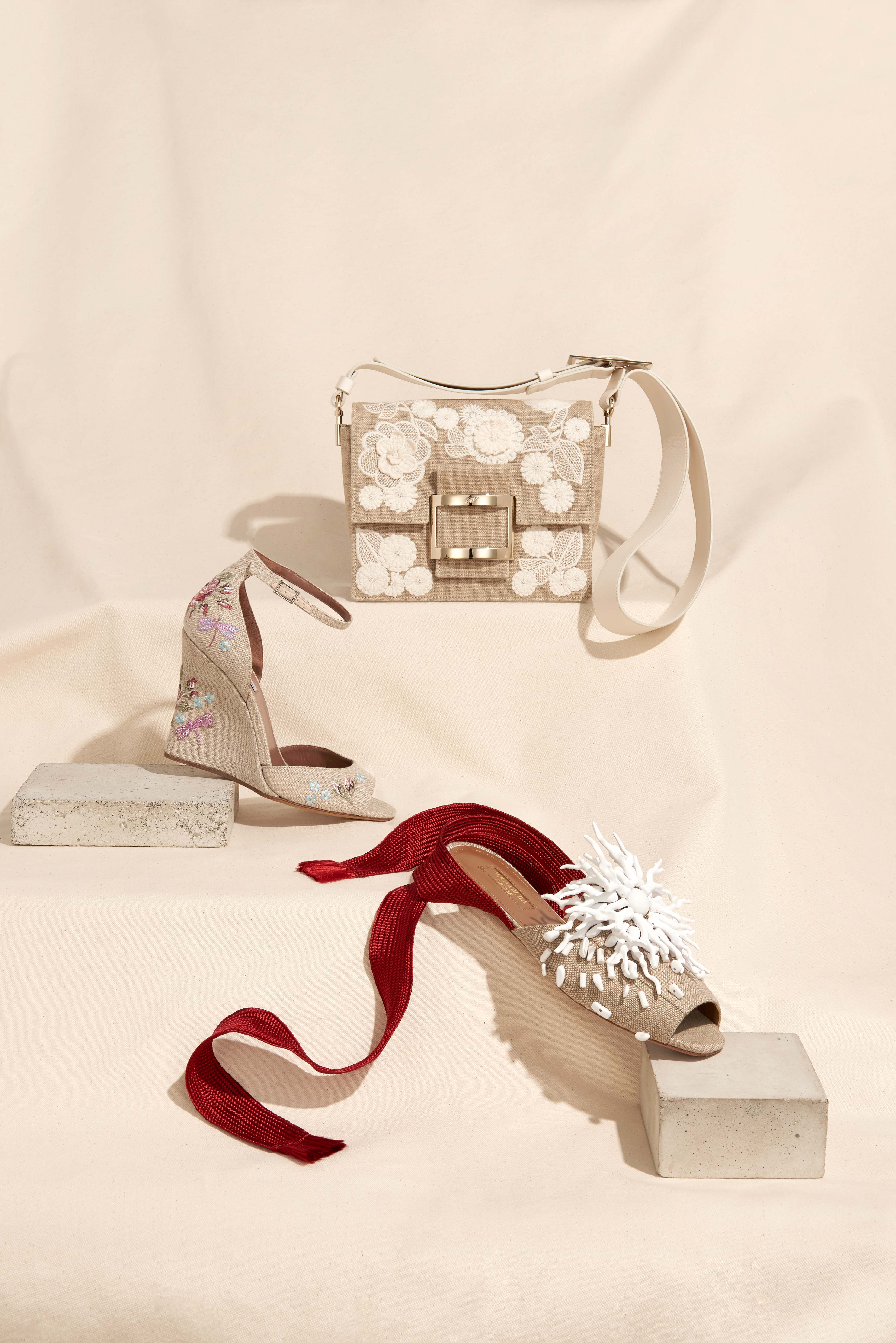 Roger Vivier (top), Tabitha Simmons (middle) and Aquazzura, which adds resin coral and bright red ribbon straps.