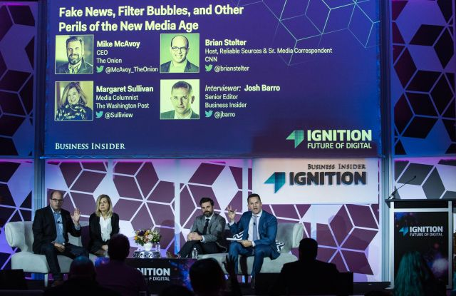 Brian Stelter, Margaret Sullivan, Mike McAvoy, and Josh Barro at the BI Ignition 2016.