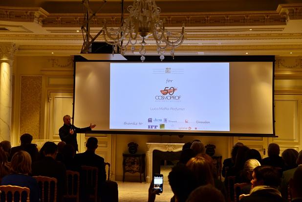Accademia del Profumo's president Luciano Bertinelli, presenting upcoming initiatives.