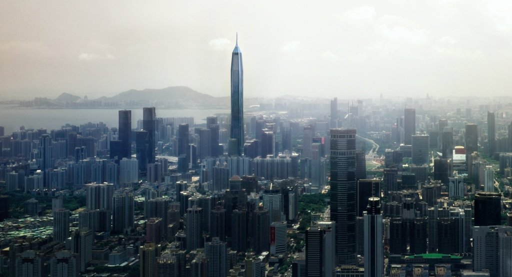 A mock-up of what the new Shenzhen skyline will look like when the Ping An Financial Tower is completed.