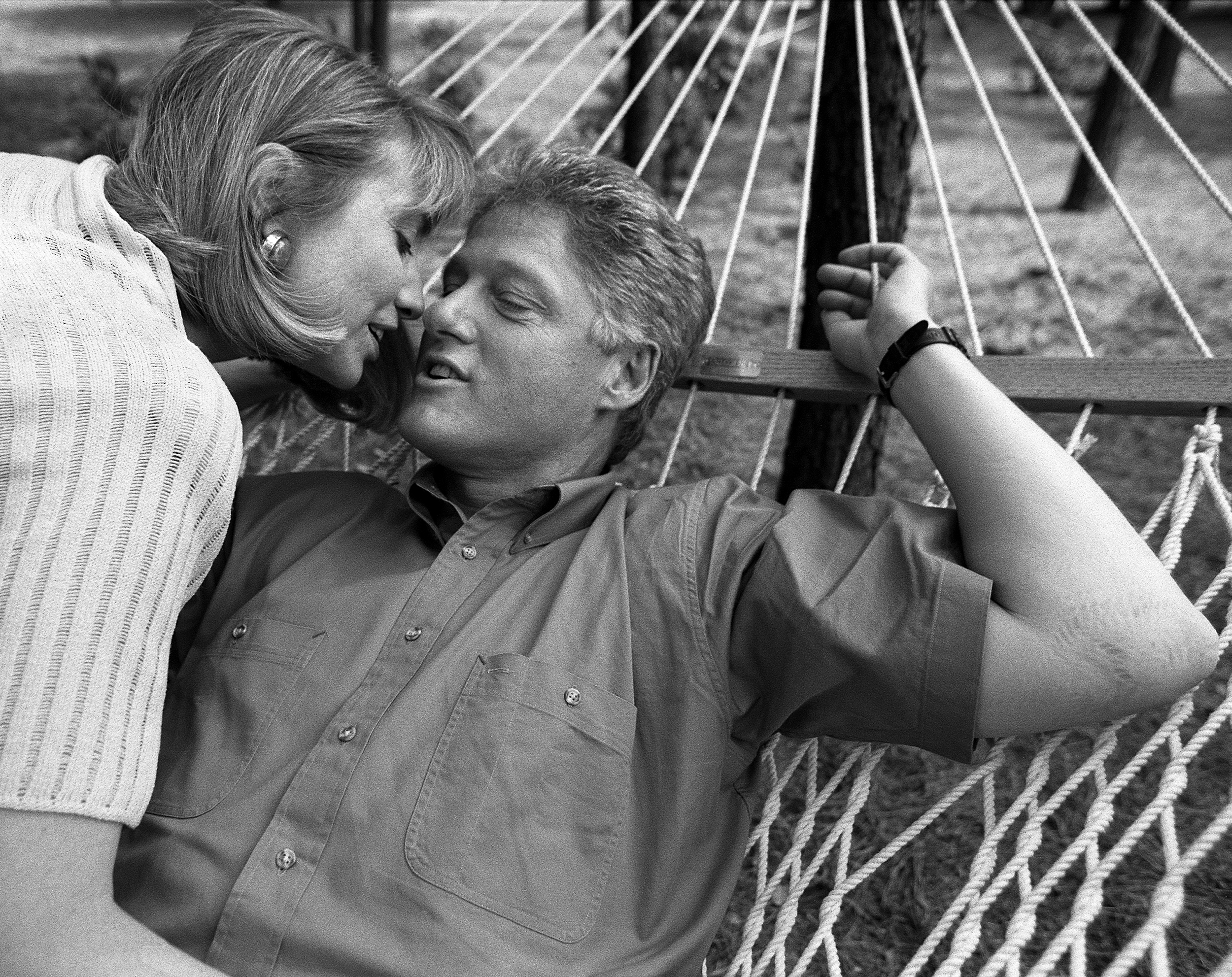 Bill and Hillary Clinton in Little Rock right after he announced his first presidential run in 1992.