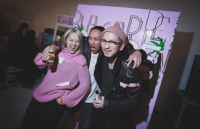 Designer Huiqin Lin (left) and friends, at a Carpe Diem event. The Shenzhen native began organizing pop-up fashion shows and markets to grow the city's cultural community.