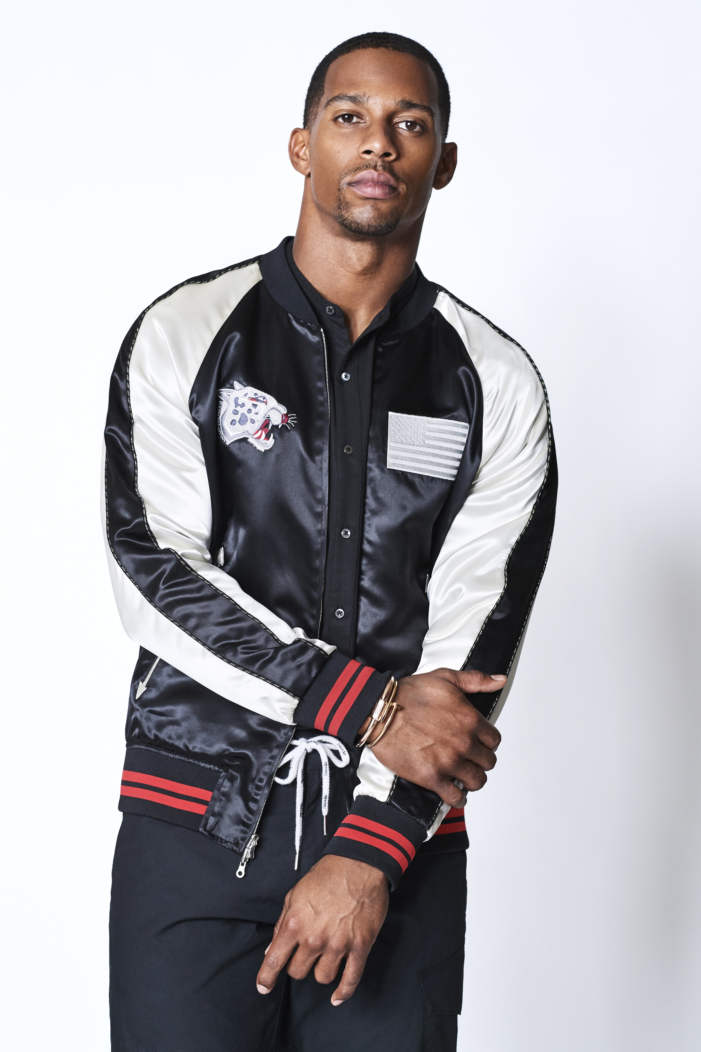 Victor Cruz models Ovadia & Sons first resort collection