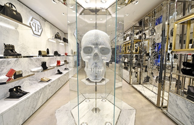 The Swarovski skull created by an artist in Switzerland is a brand signature featured in all Philipp Plein stores